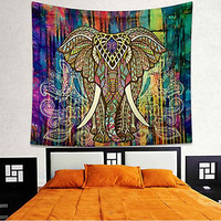 Boho Hippie Mandala Elephant Tapestry Bedspread,  Beach Throw, Yoga Mat,  Home Decor 150*130c Polyester