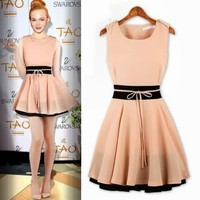 Elegant Chiffon Sleeveless Color Blocking Pleated Womens Mini Dress Zipper Belt