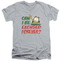 Garfield Excused Forever Athletic Heather V-Neck T-Shirt