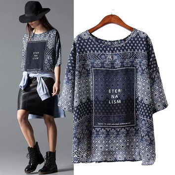 Stylish Round-neck Half-sleeve Alphabet Print Cotton Pullover Shirt Women's Fashion Tops T-shirts [5013384196]