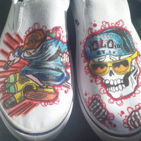 Alien vs Predator, and graffiti/skull YOLO shoes