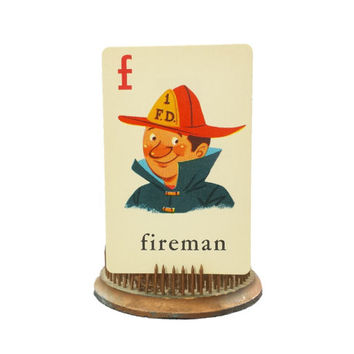 Vintage 1950s Fireman Flashcard, Letter F, Alphabet Illustrations, ABC Pictures, Scrap Booking, Paper Ephemera, Mixed Media, Kids Room Decor