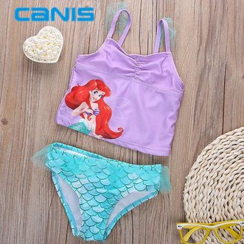 DCCKL3Z Mermaid Swimwear Kids Swimming Bikinis Set Two Pieces Baby Girls Bathing Suit Children Purpel Sequined Swimsuit
