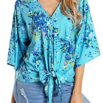 Chic Casual Turquoise Flowerlet Print Tie Front Kimono Sleeve Blouse