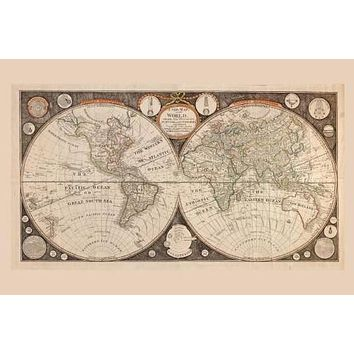 World Map 1799 poster Metal Sign Wall Art 8in x 12in