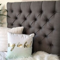 Handmade Linen Grey Twin Extra Long Headboard Fashionable Tufted College Dorm Bedding Decor