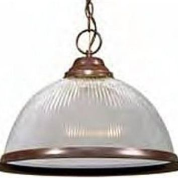 """Nuvo 76-447 - 15"""" Old Bronze Pendant Light Fixture with Clear Prismatic Dome"""