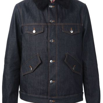 Ami Alexandre Mattiussi shearling collar padded denim jacket