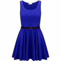 Mymixtrendz Women's Sleeveless Belted Flared Frankie Pleated Skater Dress