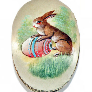 19th Century German Hand Painted Silk Easter Egg Candy Container