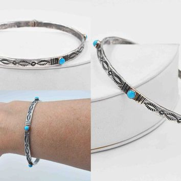 Vintage Sterling Silver & Turquoise Bangle Bracelet, Desert Rose Trading, Jay King, Signed DTR DK, Stamped, Beautiful! #c536