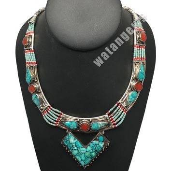 Ethnic Tribal Nepalese tribal Red Coral & Green Turquoise Inlay Necklace, E220