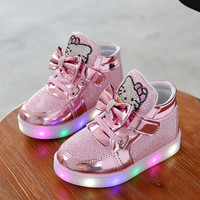 Fashion LED Girls Shoes Baby Shoes Kids Light Up Glowing Sneakers Little Girl Princess Children Shoes Christmas Girl Boots