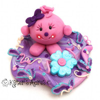 Lolly's Flower in the Pastel Glade - Polymer Clay StoryBook Scene Sculpted Figurine