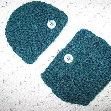 Clearance Teal plus 5 dollar gift card with purchase Diaper Cover and Baby Hat Set Baby Shower Gift, Ready to ship
