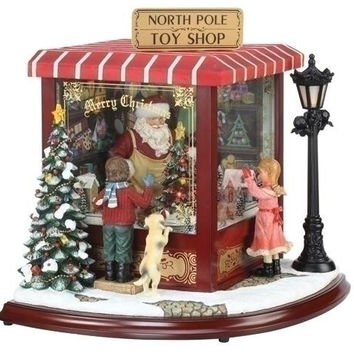 North Pole Toy Shop - Christmas Trees, Miniature Houses And Light Post Light Up