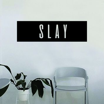 Slay Rectangle Quote Beautiful Design Decal Sticker Wall Vinyl Decor Art Eyebrows Eyelashes Lashes Make Up Cosmetics Beauty Salon MUA