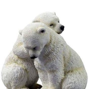 Two Polar Bear Cubs Cuddling Statue