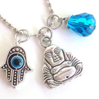 Buddha Necklace Hamsa Good Luck Yoga Jewelry Evil Eye Protection Om Zen Namaste Earthy Unique Gift Under 50 Item T13
