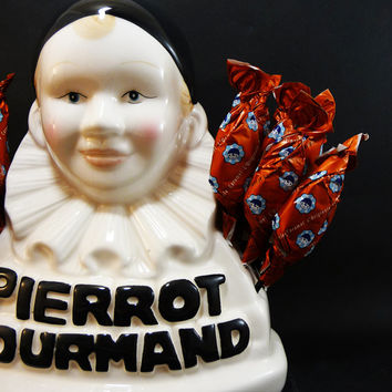 French Lollipos display Pierrot Gourmand, Candies, Sweets display, Shop presentoir, Lollipops' inventor trademark