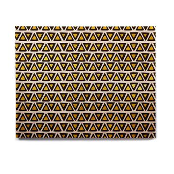 "Pom Graphic Design ""Aztec Triangles Gold"" Yellow Black Birchwood Wall Art"