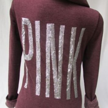 Victorias Secret Pink Bling Sequin Hoodie Maroon S