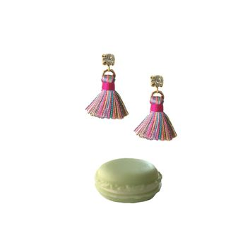 CONFETTI TINY TASSEL EARRINGS WITH MACAROON GIFT BOX