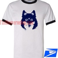 Unisex ringer tshirt - Blue Wolf available size S,M,L,XL,2XL,3XL