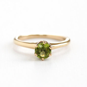 Antique 14k Rose Peridot Ring - Vintage Art Deco 1920s Size 7 1/4 Raised Green Gemstone Solitaire August Birthstone Fine Jewelry