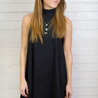 Suede Swing Mock Neck Dress