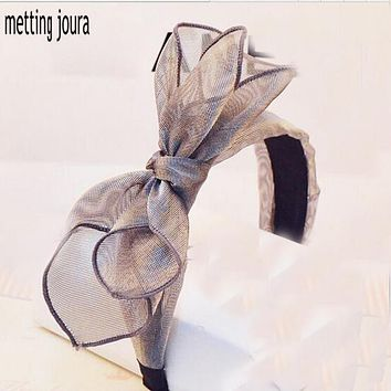 Metting Joura Bohemian Vintage Lace Big Double Bow Wide Headband Hairband Hair Accessories