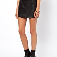 ASOS Mini Skirt in Leather - Black $106.41