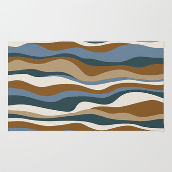 Cordillera Stripe: Teal Blue & Rusty Orange Combo Area & Throw Rug by Eileen Paulino