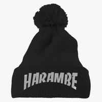 Rest In Peace Harambe Embroidered Knit Pom Cap
