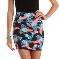 Black Multi Tropical Print Bodycon Mini Skirt by Charlotte Russe