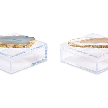 Acrylic Pill Boxes w/ Natural Agate, Set of 2, Acrylic / Lucite, Boxes