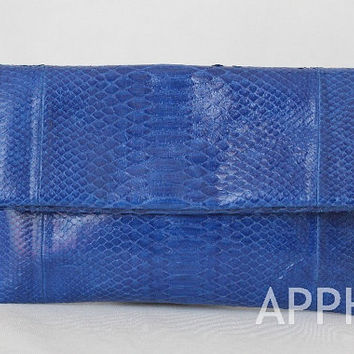 Elbulli Genuine Exotic Python Clutch in Sea Blue Color