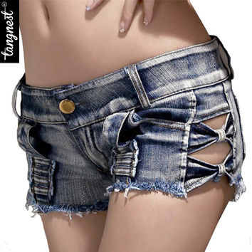 Women Sexy Denim Shorts Summer 2016 New Fashion Brand High Waist Skinny Sheath Buttons Hollow Out Short Jeans Feminino WKD264