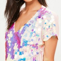Missguided - Pink Sequin T-Shirt