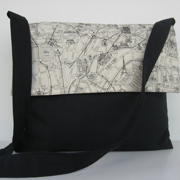 Messenger Bag City Street Map Paris by jazzygeminis on Etsy