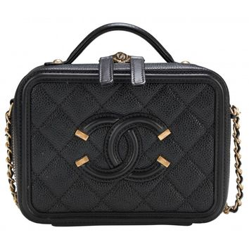 Chanel Black Caviar Small Filigree Vanity Case Bag with Gold Hardware