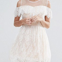 White Sheer Panel Cold Shoulder Ruffle Trim Lace Mini Dress