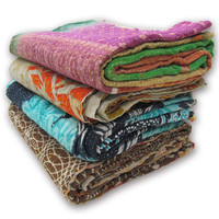Set of 3 Pcs - Indian Vintage Sari Kantha Quilt Throws