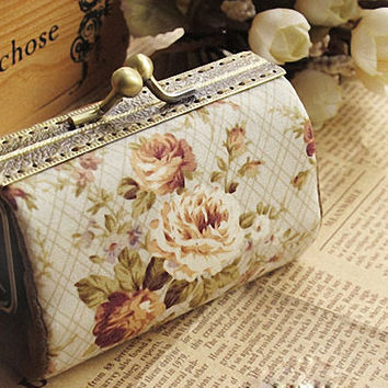 Retro Kisslock Clutch - Handmade Retro Rose Pattern Clutch, Made to Order