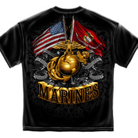 DOUBLE FLAG GOLD GLOBE MARINE CORPS BLACK GOLD FOIL STAMP