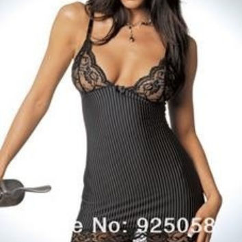 Plus Size Women Striped Lingerie Set Sexy Hot Ladies Sleepwear Chemises = 1931750468