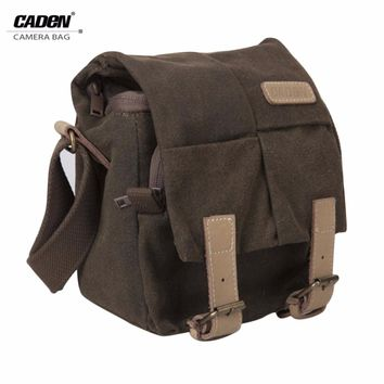 Caden Single Shoulder Camera Bag Waterproof Canvas Vintage Messenger Shoulder Bag with Zipper Closure for DSLR Camera