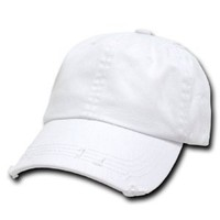 White Vintage Distressed Polo Style Low-Profile Baseball Cap Hat