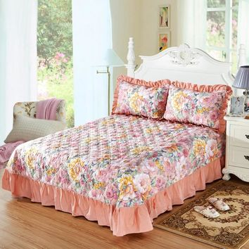 Floral Coral Ruffled Luxury Quilted Bedspread