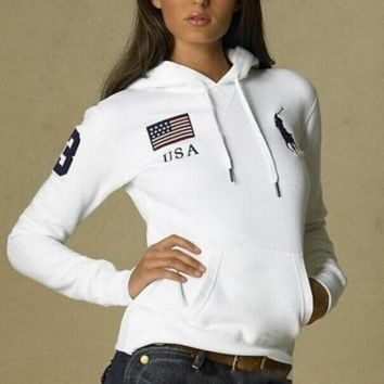 POLO Hooded Hedging long sleeve women pullover sweater
